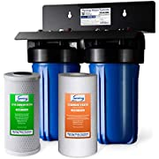 """iSpring WGB21B 2-Stage Whole House Water, 4.5""""X10"""" Big Blue, 1"""" Ports, 1-Set Filter Cartridge Included"""