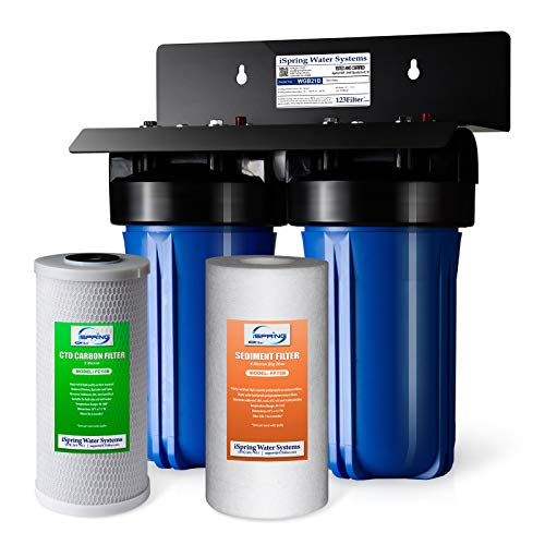 "iSpring WGB21B 2-Stage Whole House Water Filtration System with 10"" x 4.5"" Big Blue Sediment CTO(Chlorine, Taste, and Odor) Filter, 1"" Inlet/Outlet"
