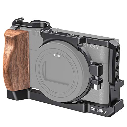 SMALLRIG Vlog Camera Cage for Sony RX100 VI and RX100 VII Camera (Fits DSC-RX100 M6 and DSC-RX100 M7 Camera) with Wooden Handle Grip Vlogger Youtuber – CCS2434