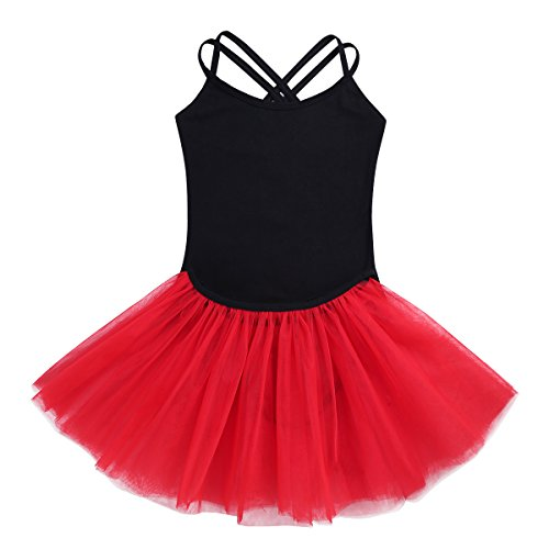 Freebily 2Pcs Tutu Ballet Enfant Fille Justaucorps de Danse Gym Classique Body Combinaison Double Bretelle avec Tutu Jupe Danse Fille 3-12 Ans Noir & Rouge 5-6 Ans