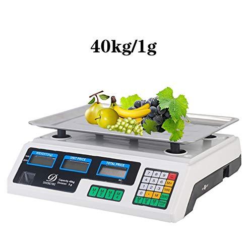 Balanza electrónica digital,Bascula Comercial,con pantalla nueva(máx. 40 kg),White,40kg