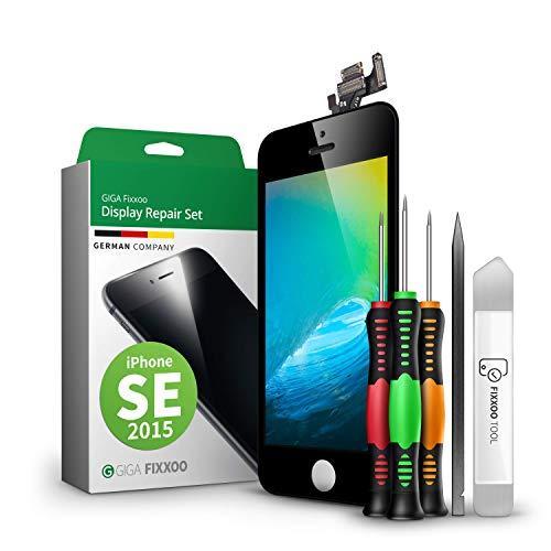 GIGA Fixxoo Display-Set für iPhone SE (2015) | SCHWARZ | vormontiertes Reparatur-Set komplett mit Frontkamera & Werkzeug-Kit, Ersatz Bildschirm | Retina LCD Glas mit Touchscreen
