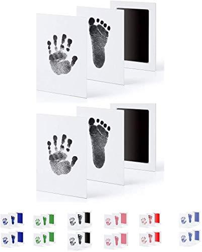 UAMITA 2 Tamponi per 4 Impronte di Mani e Piedi di Neonati da 0 a 6 mesi. L'impronta viene impressa senza alcun contatto tra il bambino e l'inchiostro (Nero)