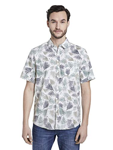 TOM TAILOR Herren Ray Hemd, 22598-small Palm Tree Leaf, XXL