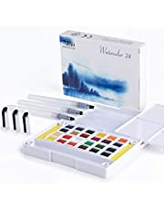 Artify Watercolour Field Sketch Set - 24 Assorted Colours with Brush - Kid Friendly - Perfect for Watercolour Paintings & Cartoons - Less Space less Costs Great Travel Pocket Kit.