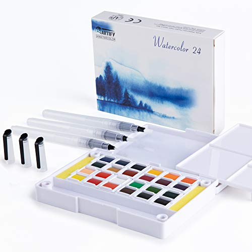 Artify Watercolor Field Sketch Set - 24 Assorted Colors with 3 Brushes - Perfect Watercolor Pan Set for Watercolor Paintings & Cartoons - Mini Travel Watercolor Kit