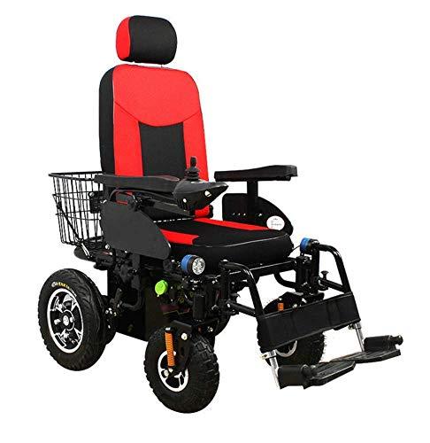 WXDP Silla de ruedas eléctrica automática automática, inteligente, cómoda y de alto rendimiento con respaldo ajustable para adultos de 4 ruedas, motor de 250 W * 2