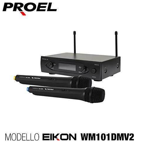 Proel EIKON WM101DMV2 - Doppio Radiomicrofono UHF Doppio Palmare a due canali con uscite indipendenti (i microfoni funzionano contemporaneamente), Nero (WM101DMV2)