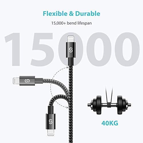 Syncwire USB-C Lightning Kabel [C94 MFi-zertifiziert] Power Delivery Typ-C Lightning Nylon-Ladekabel für iPhone 12/12 mini/12 Pro Max/SE2/11/11 Pro/11 Pro Max/X/XS/XS Max/XR/8/8 Plus usw. - 1M Schwarz