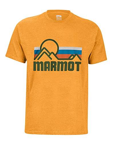 Marmot Coastal Tee SS Haut à Manches Courtes, T-Shirt d'extérieur, Idéal pour Les Sports, Gym, Sèche Rapidement, Respirant Homme True Aztec Gold Heather FR: S (Taille Fabricant: S)