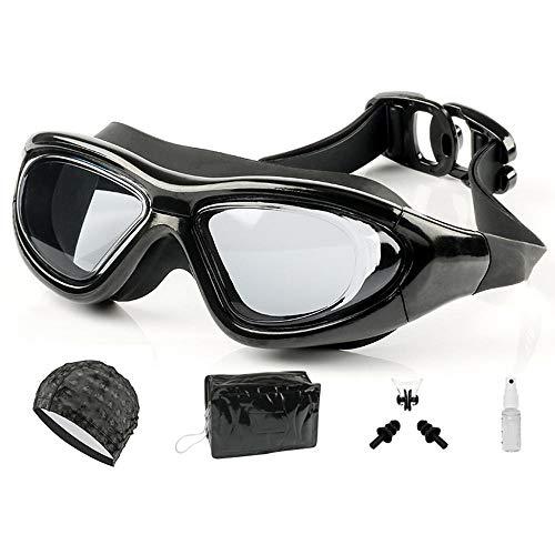 XHSSF Gafas de Natación de Miopía Gafas Natacion de natación ópticas Impermeables antivaho Hombres y Mujeres Adultos dioptrías Adolescentes -2.0 a -9.0 Negro 4 Piezas Conjunto