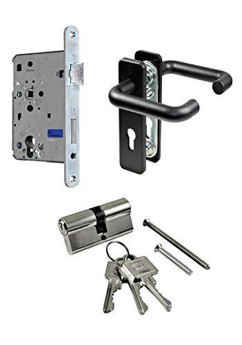 SN-TEC Stahltür/FH Tür Komplett Set Beschlag (beidseitig Drücker) + FH Schloss (DIN Rechts) + Profilzylinder