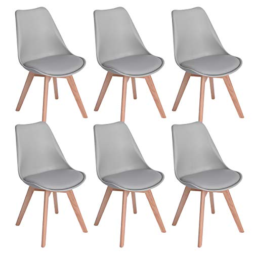 EGGREE 6er Set Esszimmerstühle mit Massivholz Buche Bein, Retro Design Gepolsterter Stuhl Küchenstuhl Holz, Grau