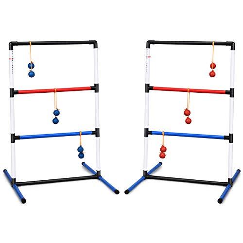 COSTWAY 2er Set Leitergolf Wurfspiel, Laddergolf, Leitergolf-Set mit eingebautem Score-Tracker, inkl. 6 PE-Bolas und Tragetasche, Spiel für die gesamte Familie für Rasen, Strand, Partys