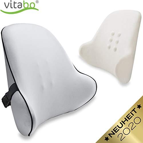 Vitabo Orthopädisches Rückenkissen - ergonomisches Lendenkissen I Lordosenstütze Rückenstütze für Büro Auto – Linderung von Rückenschmerzen (Grau)