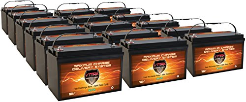 Qty 16: VMAX SLR125 AGM 12V 125ah deep Cycle Battery for use with PV Solar Panel Wind Turbine Electric Power Backup Generator or Smart Charger for Off Grid Sump Pump Lift Winch Pallet Jack