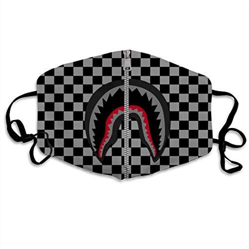 Gesichtsschal, Schwarz-Weiß-Grid Bape Shark Mundschutz, Premium Mundnasenschal