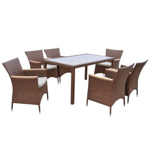 Ambientehome Polyrattan Sitzgruppe Essgruppe Akasia, braun, Tisch, ca. 150 x 90 cm, 7-teiliges Set