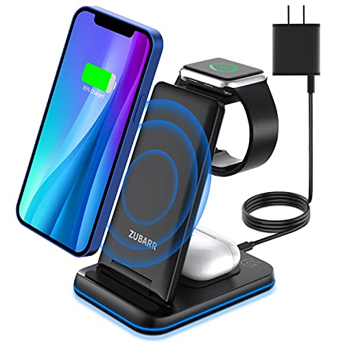 ZUBARR Foldable Wireless Charger, 3 in 1 Wireless Charging Station for iPhone13 12 11/Pro/mini/SE/11...