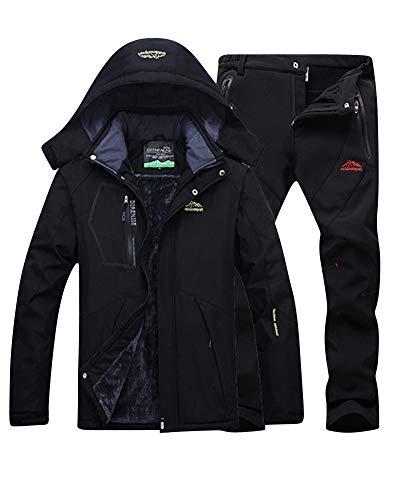 LiangZhu Herren Skijacke Segeljacke Snowboarjacke Warme Outdoorjacke Wasserdicht Atmungsaktiv Top + Hose Zweiteilig Schwarz Schwarz XL
