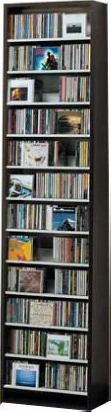 ガラス区別黒板540枚収納 CD屋さんのCD/DVDラック 幅48.5cm インデックスプレート10枚付き(ダークブラウン D)