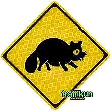 標識会社が作った本物と同素材・超リアルな ミニチュア道路標識 トラフィックン 標識板のみ・動物注意シリーズ (タヌキ)