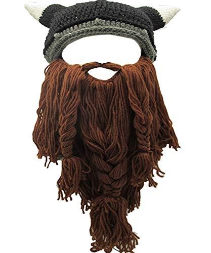 YEKEYI Wikinger Bart Beanie Horn Mütze Winter Warme Maske Gestrickte Wolle Lustige Schädel Kappe, Hornbraun, Einheitsgröße