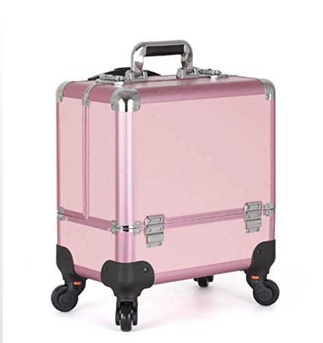 DDL Rolling Makeup Trolley Cosmetic Case Universal Wheel Double Open Multi-Layer Professional Suitcase Beauty Kit,36x22 (Color : Pink)