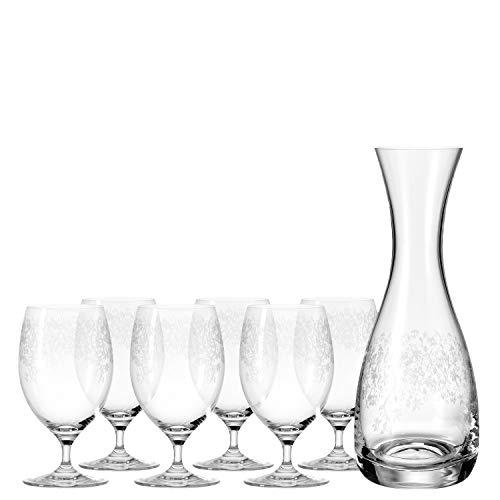 Leonardo Chateau Getränke-Set, spülmaschinenfeste Glas-Karaffe und Wasser-Gläser mit Stiel, 7er Set, 380 ml und 820 ml, 032816