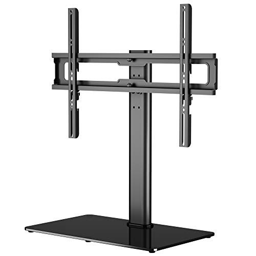 """1home Table Top Pedestal TV Stand for 32""""-60"""" LCD/LED/Plasma TVs Swivel Height Adjustable - 8mm Tempered Glass Base with Anti-Slip Feet"""