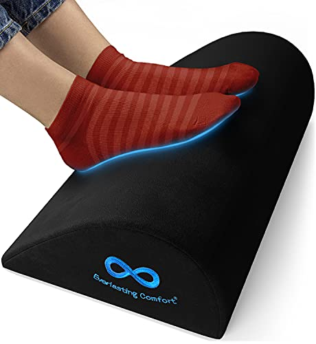 Everlasting Comfort Office Foot Rest for Under Desk - Pure Memory Foam - Ergonomic Foot Stool Pillow - Work, Home and Gaming Chair Footrest Stand and Leg Footstool Cushion (Black)