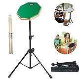 olanda 8in set di batteria drum pad,drum pad pratica,pad per allenamento,con bacchette in legno massello e borsa per la pratica una batteria per principianti e professionisti (verde)