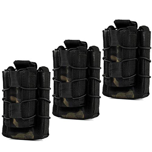Double Mag Pouch, Hoanan Tactical Molle Magazine Pouch Open-Top Single Rifle Pistol Mag Pouch Cartridge Clip Pouch Hunting Bag (3pack-Multicam Black)