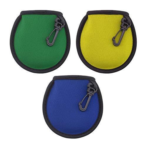 3 bolsas de bolsillo para limpiador de pelotas de golf con clip de suspensión, amarillo, azul y verde