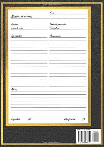 Libro de recetas en blanco - Recetarios de cocina para escribir: Libreta y Cuaderno para recetas de cocina, en blanco, personalizado, para escribir. Diario de recetas. Vintage. A4.