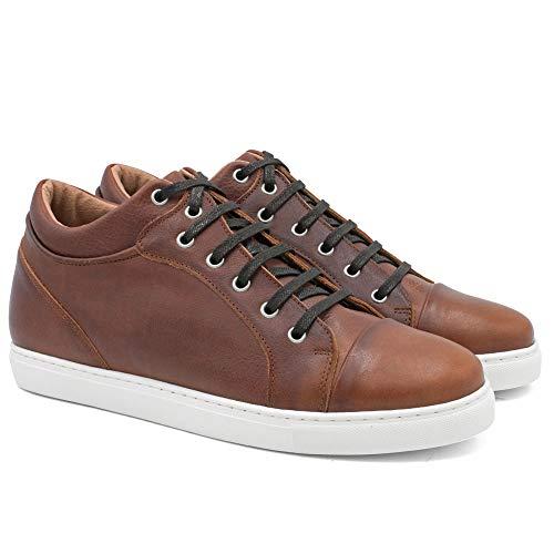 Zapatos de Hombre con Alzas Que Aumentan Altura hasta 7 cm. Fabricados en Piel. Modelo Miami Marron 42