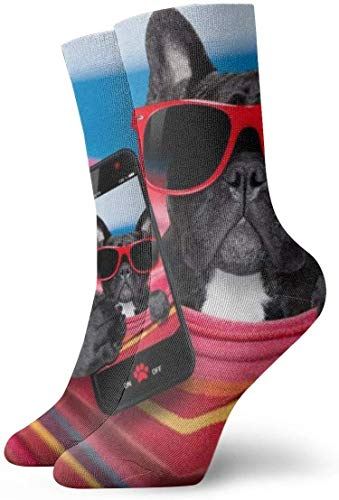 NA Heren Jurk Sokken Pack Zwarte Hond Zonnebril Telefoon Grappige Grappige Polyester Crew Sokken