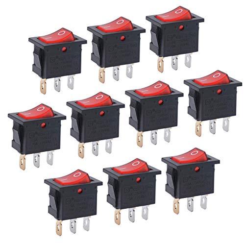 Taiss / 10Pcs AC 250V / 6A, 125V / 10A Rotlicht beleuchtet EIN/AUS SPST 3 Pin 2 Position Mini Boot Wippschalter Auto Auto Boot Kippschalter Snap KCD1-2-101N-R