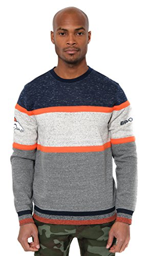 Ultra Game NFL Denver Broncos Mens Fleece Sweatshirt Long Sleeve Shirt Block Stripe, Team Color, Large