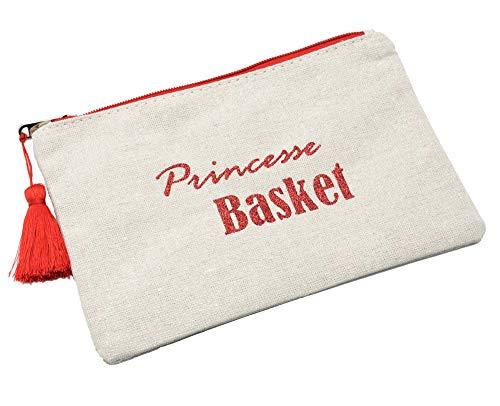 Oh My Shop ATM11 - Trousse Maquillage Pochette Toile Message Princesse Basket Paillettes et Pompon Rouge