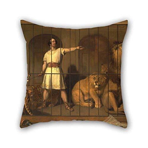 N\A Pintura al óleo Sir Edwin Henry Landseer - Retrato del Sr. Van Amburgh, Tal como apareció con Sus Animales en los teatros de Londres Funda de Almohada La Mejor opción para la Esposa Husb
