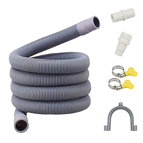 1.5M Tubo Scarico Lavatrice, Tubo Dell'acqua di Scarico in PVC per Lavatrice e Lavastoviglie, Inclusa Staffa e Fascetta Stringitubo (1.5M)