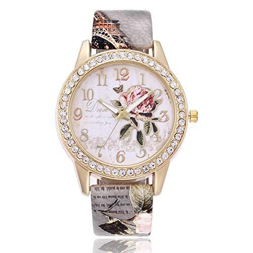 Aifono Las señoras a estrenar de la Moda Miran el Reloj de la Flor de la Planta, Reloj de los Deportes Reloj de Cuarzo analógico Reloj de la Correa de Cuero de la PU (Gris)