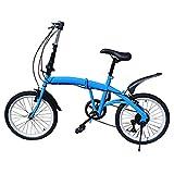 Bicicleta plegable de 20 pulgadas, 7 velocidades, freno en V, bicicleta plegable, bicicleta de ciudad, altura regulable, ruedas plegables, color azul