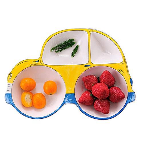 ZPFDM Plato de cerámica para bebé de Dibujos Animados, vajilla para niños, Juego de Plato y Plato para automóvil, ecológico y Apto para lavavajillas, Gran Regalo para cumpleaños, Baby Shower