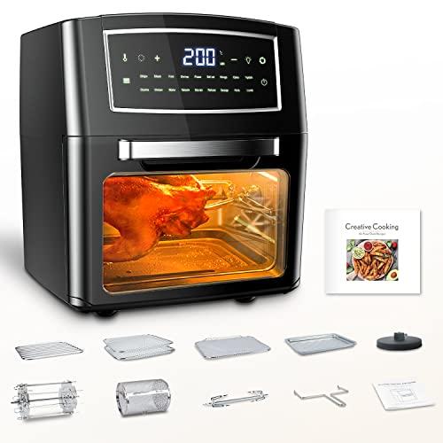 Freidora de aire caliente, 12 l, freidora sin aceite, Air Fryer con 18 programas, función Keep Warm, pantalla táctil, temperatura regulable, sin BPA, 100 recetas, papel