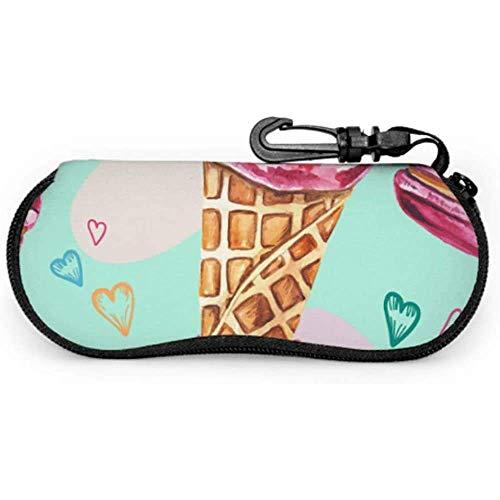 Summer Ice Cream Sprinkles Cone Macarons Women Glasses Case Gafas de sol PouchZipper Soft Case Women Sunglass Case