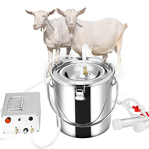 SEAAN Goat Milking Machine Goat Milker Electric Milking Machine with 2 Teat Cups Pulsation Vacuum Pump Stainless Steel Bucket 7L for Goat