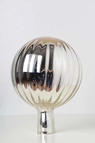 Rosenkugel aus Glas für den Garten – perfekte handgemachte Garten-Dekoration für Ihr Blumenbeetin vielen Farben, Formen und Größen, Hoche 21cm und Durchschnittlich 15cm, Silber