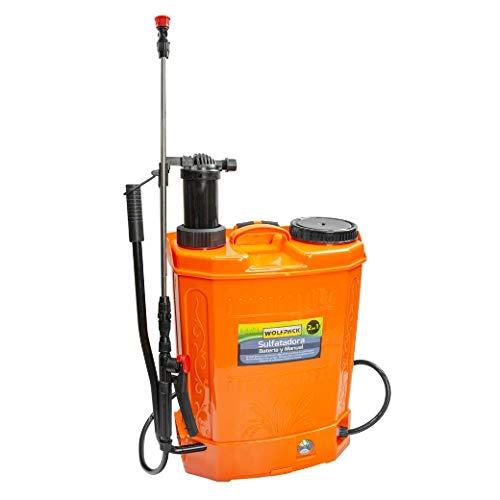 WOLFPACK LINEA PROFESIONAL Sulfatadora Electrica A Bateria Doble Uso Bateria o Manual, Con Bateria Recargable 12 V / 8 Amperios